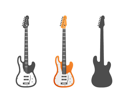 frets: Electric guitars vector icons set. Guitar isolated icons vector illustration. Guitars isolated on white background. Music, concert, sound, fun, guitars Vector guitars. Color, grey, silhouette guitars Illustration