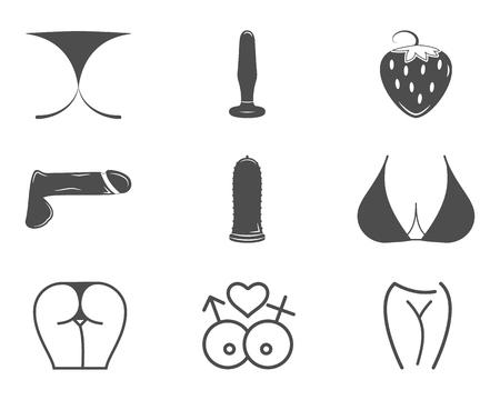 Collection de jolies icônes de Sex shop. symboles sexuels. Utilisez pour le web ou print. label Porno, des modèles de conception de badge. emblèmes Sexy fixés. Les éléments de Vector. magasin Adulte - pénis, vibrateur, jouets anaux.
