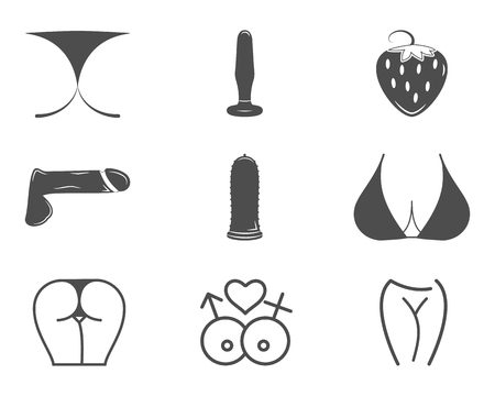 Collection of cute Sex shop icons. Sexual symbols. Use for web or print. Porno label, badge design templates. Sexy emblems set. Vector xxx elements. Adult store - penis, vibrator, anal toys.