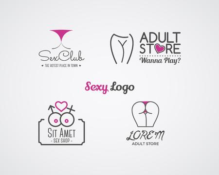 Het verzamelen van leuke Sexshop logo en badge design templates. Sexy labels in te stellen. Vector xxx elementen. Volwassen winkel symbolen, iconen - lingerie. Gebruik voor brochures, gevels, venster singage. Stock Illustratie