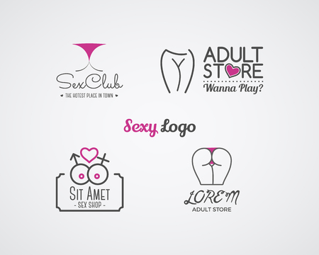 Collection of cute Sex shop logo and badge design templates. Sexy labels set. Vector xxx elements. Adult store symbols, icons - lingerie. Use for brochures, facades, window singage.