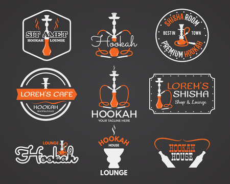 tobacco product: Hookah labels, badges and design elements collection. Vintage shisha logo. Lounge cafe emblem.  Arabian bar or house, shop. Isolated vector illustration.