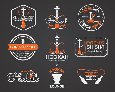 Hookah labels, badges and design elements collection. Vintage shisha logo. Lounge cafe emblem.  Arabian bar or house, shop. Isolated vector illustration.