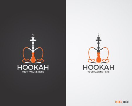 Hookah relax labels, badges and design elements collection in 2 color variations. Vintage shisha logo. Lounge cafe emblem.  Arabian bar or house, shop. Isolated vector illustration