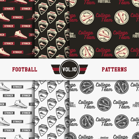 soccer equipment: Set of american football patterns. Usa sports seamless background collection. Sport wallpaper with scorer in monochrome and color design. Vector soccer equipment graphic. Sketch, hand drawn style