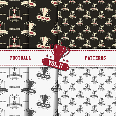soccer equipment: Set of american football patterns. Usa sports seamless background collection. Sport wallpaper with cup in monochrome and color design. Vector soccer equipment graphic. Sketch, hand drawn style