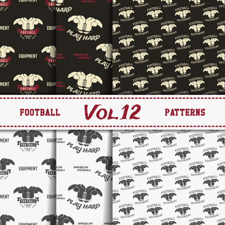 soccer equipment: Set of american football patterns. Usa sports seamless background collection. Sport wallpaper with paddle in monochrome and color design. Vector soccer equipment graphic. Sketch, hand drawn style Illustration
