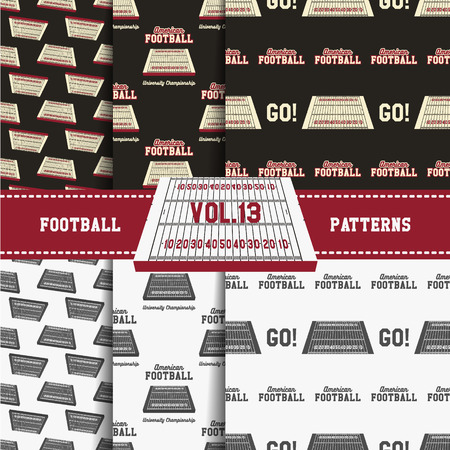 soccer equipment: Set of american football patterns. Usa sports seamless background collection. Sport wallpaper with field in monochrome and color design. Vector soccer equipment graphic. Sketch, hand drawn style