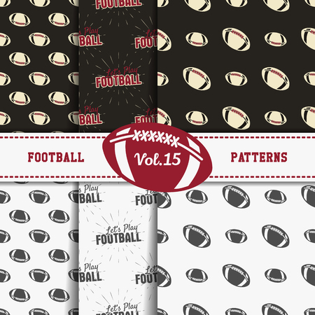 soccer equipment: Set of american football patterns. Usa sports seamless background collection. Sport wallpaper with ball in monochrome and color design. Vector soccer equipment graphic. Sketch, hand drawn theme. Illustration