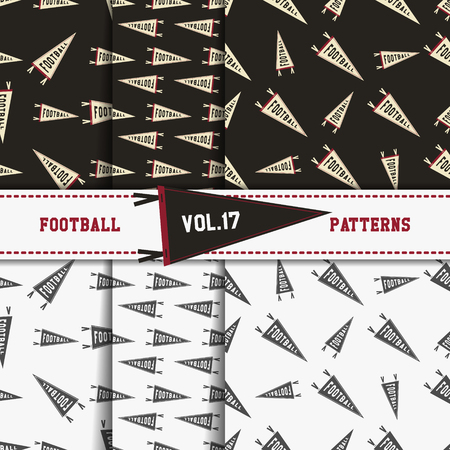 soccer equipment: Set of american football patterns. Usa sports seamless background collection. Sport wallpaper with pennant in monochrome and color design. Vector soccer equipment graphic. Sketch, hand drawn theme.