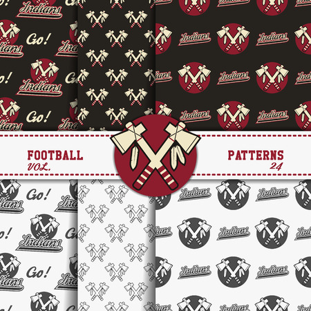 soccer equipment: Set of american football patterns. Usa sports seamless background collection. Sport wallpaper with badge in monochrome and color design. Vector soccer equipment graphic. Sketch, hand drawn style