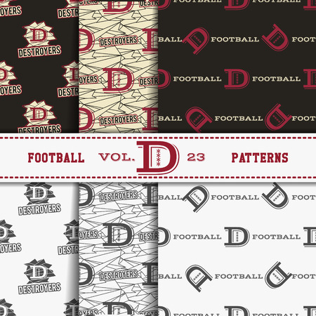 soccer equipment: Set of american football patterns. Usa sports seamless background collection. Sport wallpaper with logo in monochrome and color design. Vector soccer equipment graphic. Sketch, hand drawn style