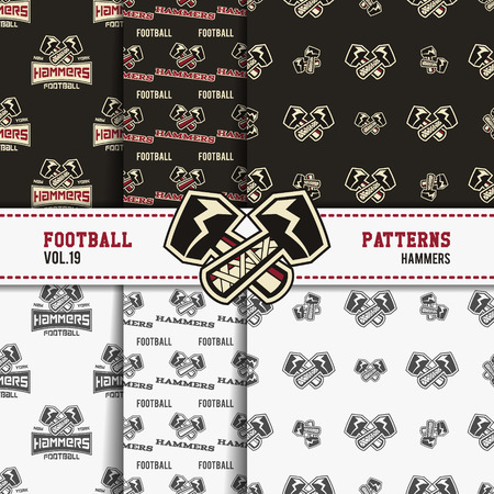 soccer equipment: Set of american football patterns. Usa sports seamless background collection. Sport wallpaper with hammers in monochrome and color design. Vector soccer equipment graphic. Sketch, hand drawn style