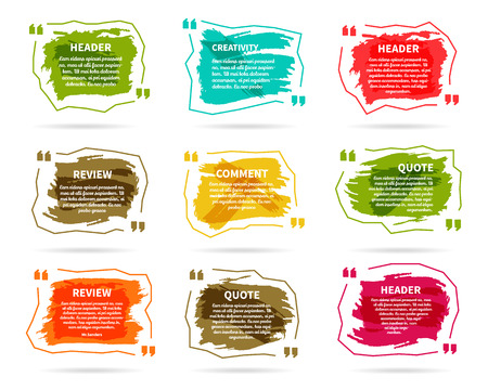 Watercolor, ink, splash Quote blank templates. Quote bubbles. Empty template. Circle business card template, paper sheet, information, text. Print multicolor design. Quote form Template vector set Stock Illustratie