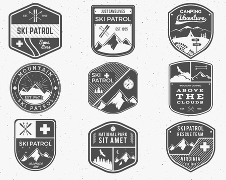wilderness: Set of Ski Club, Patrol Labels. Vintage Mountain winter camp explorer badges. Outdoor adventure logo design. Travel hand drawn and hipster monochrome insignia. Snowboard icon symbol. Wilderness Vector