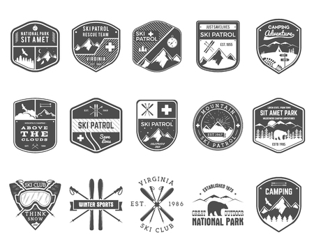 Set of Ski Club Patrol Labels. Vintage Mountain winter camp explorer badges. Outdoor adventure logo design. Travel hand drawn and hipster monochrome insignia. Snowboard icon symbol. Wilderness Vector. Çizim