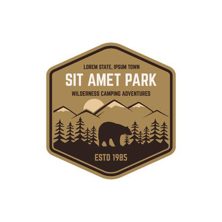 wilderness: National park vintage badge. Mountain explorer label. Outdoor adventure logo design with bear. Travel and hipster insignia. Wilderness, forest camping emblem. Hiking, backpack Vector design typography Illustration