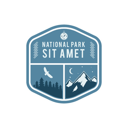 wilderness: National park vintage badge. Mountain explorer label. Outdoor adventure logo design with eagle. Travel and hipster insignia. Wilderness, forest camping emblem. Hiking Vector design typography