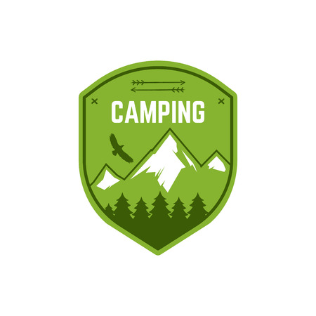 wilderness: Camping Label. Vintage Mountain winter camp explorer badge. Outdoor adventure logo design. Travel hand drawn and hipster color insignia. Snowboard icon symbol. Wilderness emblem and stamp. Vector.
