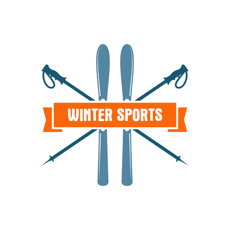 wilderness: Winter sports Label. Vintage Mountain explorer badge. Outdoor adventure logo design. Travel hand drawn and hipster color insignia. Ski and snowboard icon symbol. Camping emblem. Wilderness Vector.