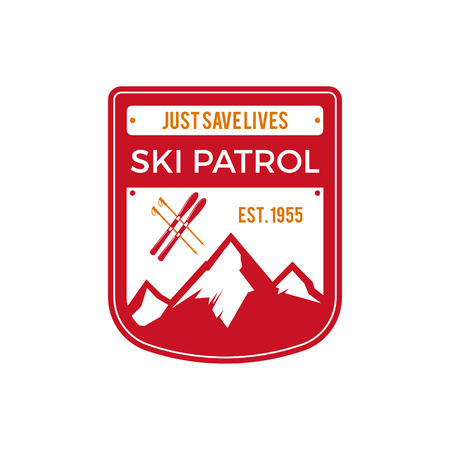 patrol: Ski Patrol Label. Vintage Mountain winter sports explorer badge. Outdoor adventure logo design. Travel hand drawn and hipster color insignia. First aid icon symbol. Red pallette. Wilderness Vector.