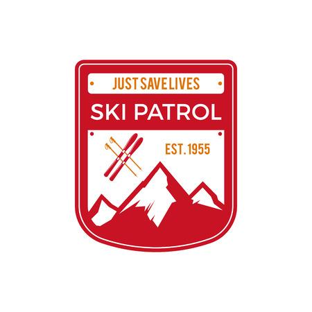 pallette: Ski Patrol Étiquette. Vintage Montagne hiver badge explorateur de sport. aventure logo Outdoor design. tiré par la main de Voyage et de couleur hipster insignes. Premier symbole de l'icône de l'aide. pallette Rouge. Wilderness Vector.