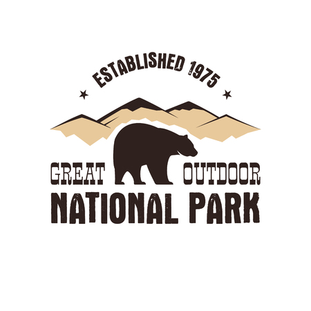 wilderness: National park retro style badge. Mountain explorer label. Outdoor adventure logo design with bear. Travel and hipster insignia. Wilderness, forest camping emblem Hiking. Vector design typography