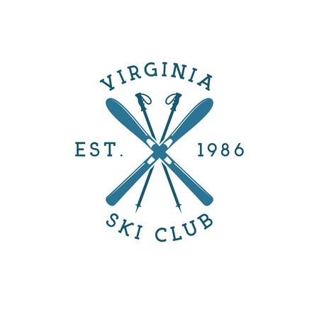 Winter sports ski club Label. Vintage Mountain explorer badge. Outdoor adventure logo design. Travel hipster color insignia. Snowboard icon symbol. Camping emblem. Wilderness Vector illustration