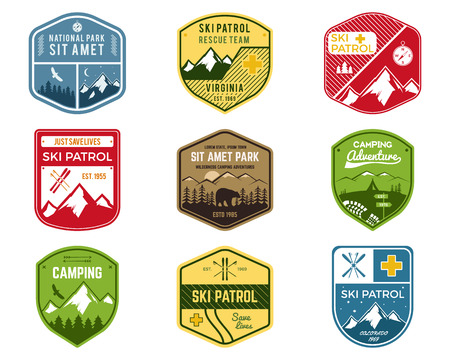 Set of Ski Club, Patrol Labels. Vintage Mountain winter camping explorer badges. Outdoor adventure logo design. Travel hand drawn and hipster color insignia. Snowboard icon symbol. Wilderness. Vector. Illustration