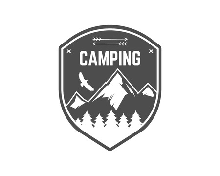 Camping Label. Vintage Mountain winter camp explorer badge. Outdoor adventure logo design. Travel monochrome and hipster color insignia. Snowboard icon symbol. Wilderness emblem and stamp. Vector.