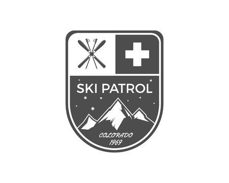patrol: Ski Patrol Label. Vintage Mountain winter sports explorer badge. Outdoor adventure logo design. Travel hand drawn and hipster color emblem. First aid icon symbol. Monochrome design. Wilderness Vector.