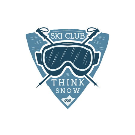 ski goggles: Winter sports ski club Label with goggles. Vintage Mountain explorer badge. Outdoor adventure logo design. Travel hipster color insignia. Snowboard icon symbol. Camping emblem. Wilderness Vector.