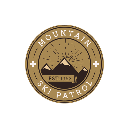 Ski Patrol Round Label. Vintage Mountain winter sports explorer badge. Outdoor adventure logo design Travel hand drawn and hipster color insignia First aid icon symbol Nice pallette Wilderness Vector