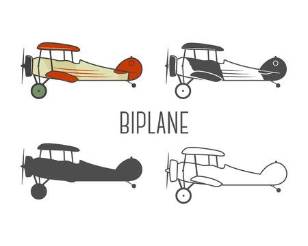 pilot cockpit: Set of vintage aircraft design elements. Retro Biplanes in color, line, silhouette, monochrome designs. Aviation symbols. Biplane emblem. Old style planes. Isolated on white background. Illustration
