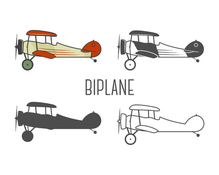 Set of vintage aircraft design elements. Retro Biplanes in color, line, silhouette, monochrome designs. Aviation symbols. Biplane emblem. Old style planes. Isolated on white background. Illustration