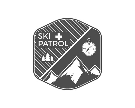 patrol: Ski Patrol Label. Vintage Mountain winter sports explorer badge. Outdoor adventure logo design. Travel hand drawn and hipster emblem. First aid icon symbol. Monochrome design. Wilderness Vector.