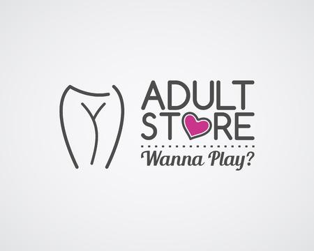 Volwassen winkel logo-ontwerp. Leuke Sexshop badge sjabloon. Sexy label. Vector xxx elementen. Seksualiteit winkel symbool, pictogram - vrouw. Gebruik voor brochures, gevels, venster signage, insignes, reclame.