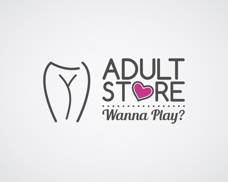Adult store logo design. Cute Sex shop badge template. Sexy label. Vector xxx elements. Sexuality shop symbol, icon - woman. Use for brochures, facades, window signage, insignias, advertisement.