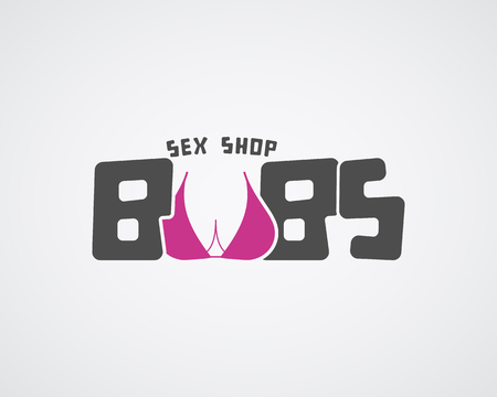 girl boobs: Cute Sex shop logo and badge design template. Sexy label. Vector xxx elements. Adult store symbol, icon - boobs. Use for brochures, facades, window signage, logo design. Vector illustration Illustration