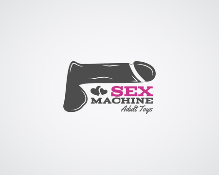 adult sex: Cute Sex shop logo and badge design template. Sexy label. Vector xxx elements. Adult store symbols, icons - penis, hearts. Use for brochures, facades, window signage. Illustration