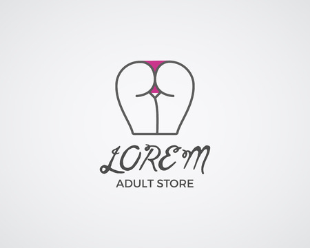 adult sex: Cute Sex shop logo and badge design template. Sexy label. Vector xxx elements. Adult store symbol, icon - ass with bikini. Use for brochures, facades, window signage, logo design. Vector. Illustration