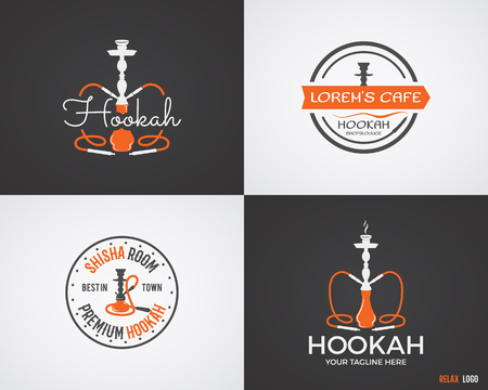 tobacco product: Set of Hookah relax labels, badges and design elements in 2 color variations. Vintage shisha logo. Lounge cafe emblem.  Arabian bar or house, shop insignia. Isolated vector illustration