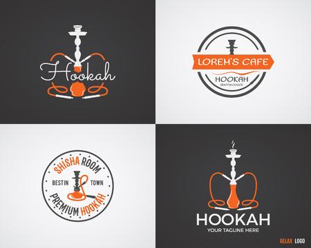 hookah: Set of Hookah relax labels, badges and design elements in 2 color variations. Vintage shisha logo. Lounge cafe emblem.  Arabian bar or house, shop insignia. Isolated vector illustration