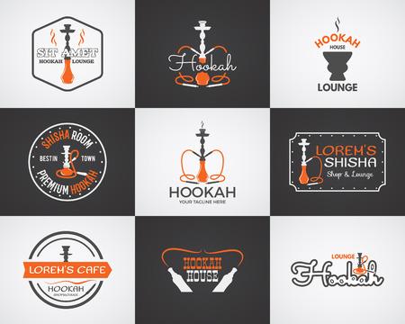 bar lounge: Hookah labels, badges and design elements collection. Vintage shisha logo. Lounge cafe emblem.  Arabian bar or house, shop. Isolated on two backgrounds. Vector illustration Illustration