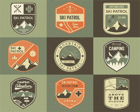 patrol: Set of Retro style Ski Club, Patrol Labels. Classic Mountain elements. Winter or summer camping explorer badges. Outdoor adventure logo design. Travel hipster insignia. Mountains icon symbol.  Illustration