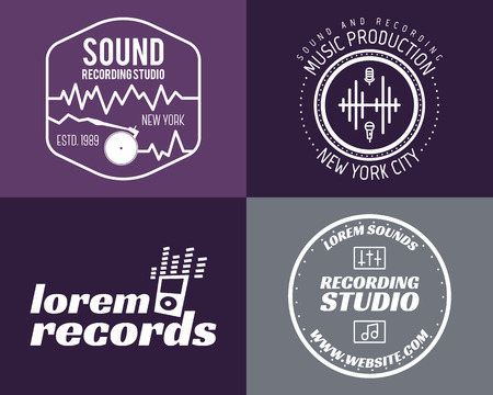 recording: Vector music production studio logos set. Musical label icons. Music insignia and emblems print or logotype. Guitars badge for sound recording studio t-shirt, sound production. Podcast, radio badges.