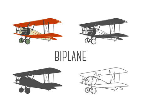 Set of vintage aircraft design elements. Retro Biplanes in color, line, silhouette, monochrome designs. Aviation symbols. Biplane emblem. Old style planes. Isolate on white background. Vettoriali