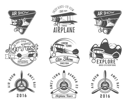 Vintage airplane emblems. Biplane labels. Retro Plane badges and design elements. Aviation stamps collection. Airshow logo and logotype. Fly propeller, old icon, isolated on white background. Vector. Vettoriali