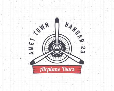biplane: Airplane emblem. Biplane label. Retro Plane propeller badge, design elements. Vintage prints for t shirt. Aviation stamp. Air tour logo. Travel logotype. Isolated on white textured background. Vector.