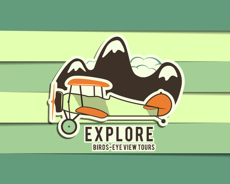 biplane: Airplane emblem. Biplane label. Retro Plane badges, design elements. Vintage prints for t shirt. Aviation stamp. Explore tour logo. Travel logotype. Isolated on cute color background. Vector. Illustration